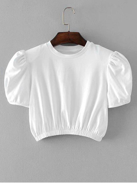 lady Shoulder Pabs Cropped Top - WHITE ONE SIZE
