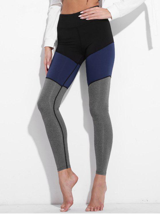 affordable Colorblock High Waisted Active Leggings - GRAY S
