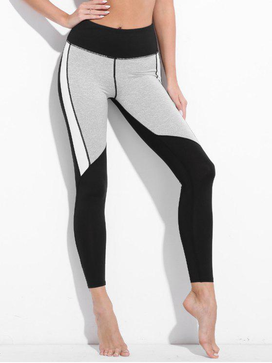ladies Colorblock Workout Leggings - BLACK XL
