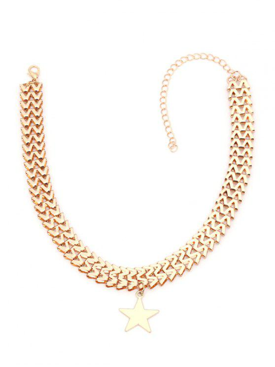 Zig Zag Chain Star Necklace - Dourado