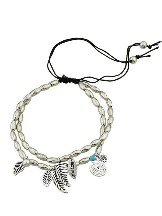 best Layered Charm Beads Adjustable Mother Bracelet - SILVER