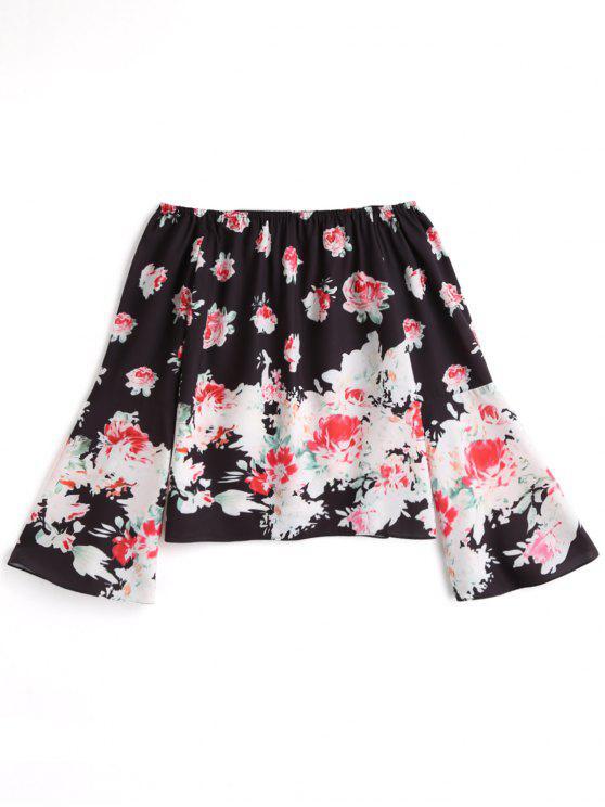 Blusa Floral de Manga Sino e Ombro Caido - Preto XL