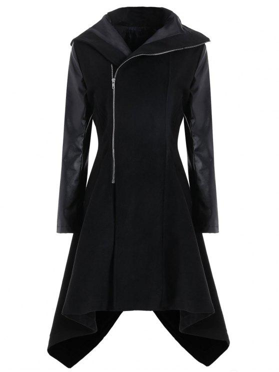 7e83210960 36% OFF] 2019 Plus Size Faux Leather Sleeve Oblique Zipper Coat In ...