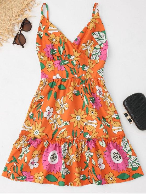 فستان كامي عارية الظهر طباعة الأزهار عالية الخصر - الأزهار L