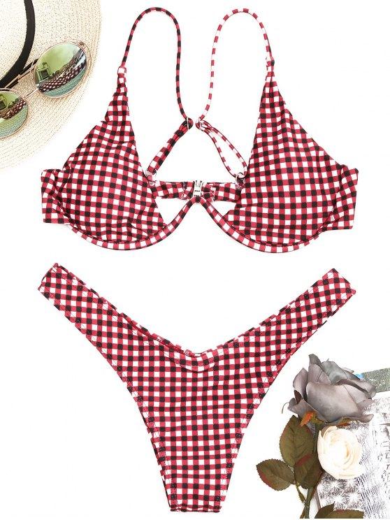 Juego de Bikini de corte alto y cuadros con aro - Rojo L