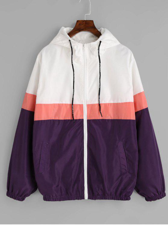 best sneakers 86869 81b3a Zipper Color Block Windbreaker Jacket - Purple L