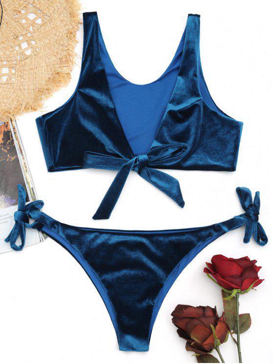 Conjunto de bikini de terciopelo Bowtie de corte bajo - Azul Eléctrico L