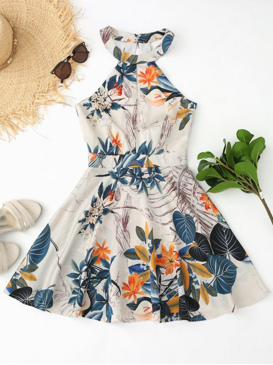 trendy Cut Out Floral Leaves Print Flare Dress - FLORAL M