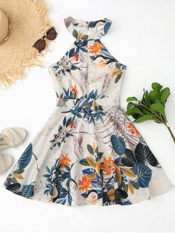 fashion Cut Out Floral Leaves Print Flare Dress - FLORAL L