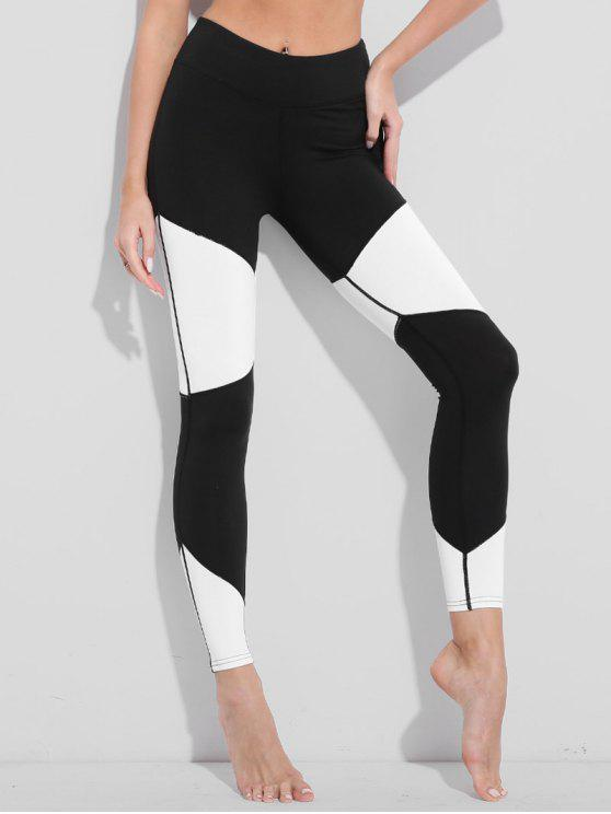 trendy Two Tone High Waisted Active Leggings - WHITE AND BLACK L