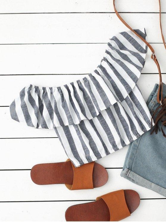 womens Off Shoulder Flounce Striped Crop Blouse - STRIPE L