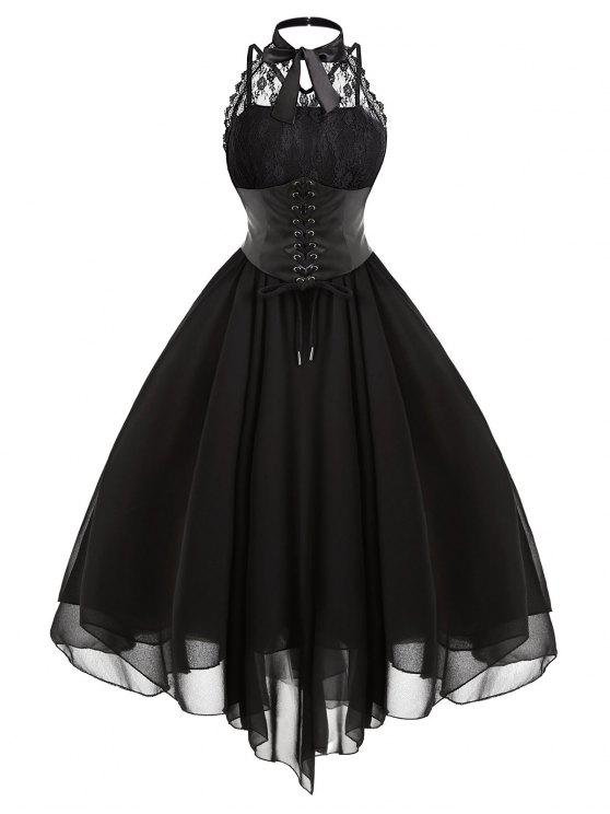 2018 Gothic Cross Back Lace Panel Corset Dress In Black L Zaful