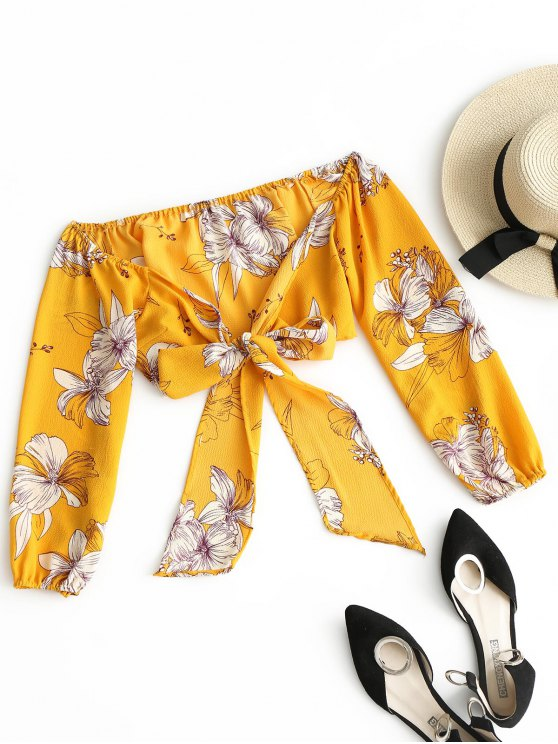 fancy Floral Print Crop Wrap Blouse - YELLOW ONE SIZE
