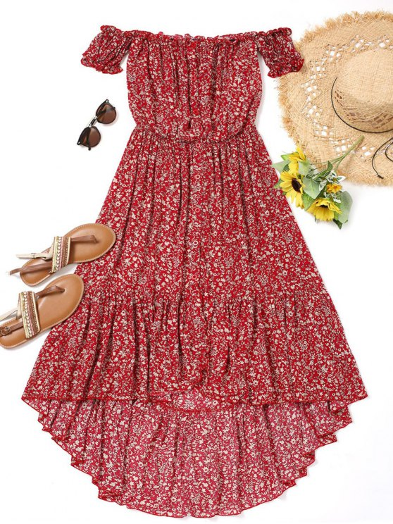 sale Tiny Floral High Low Dress - RED L