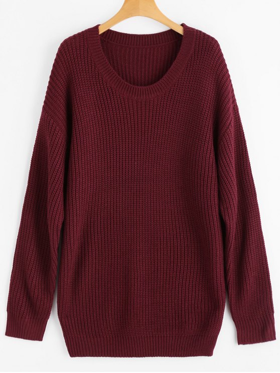 lady Drop Shoulder Longline Chunky Sweater - WINE RED ONE SIZE