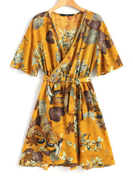 outfits Troipical Mini Wrap Dress - MUSTARD L