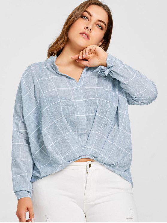 fancy High Low Plus Size Plaid Blouse - BLUE 5XL