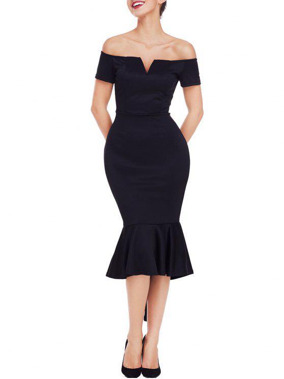 Vestido De Sirena Con Hombros Descubiertos Y Corte En V Black Purple