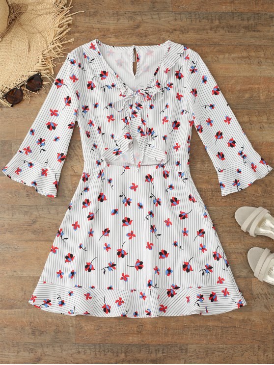 outfit Flare Sleeve Floral Striped Bowtie Dress - FLORAL M