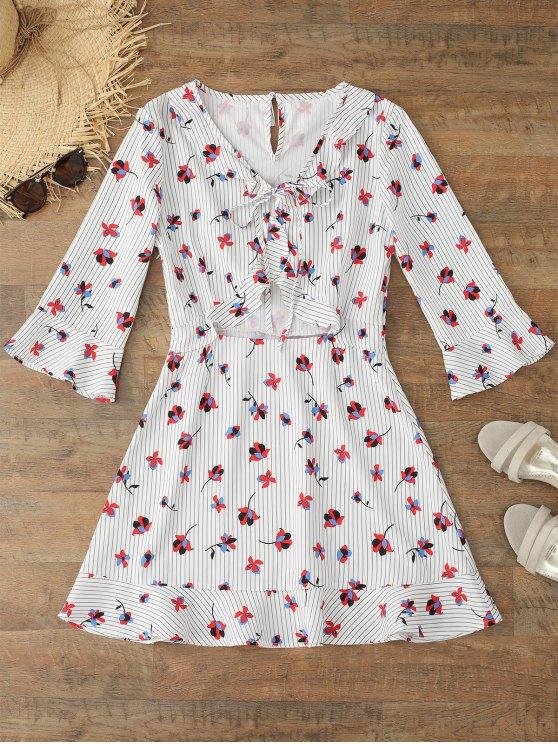 shop Flare Sleeve Floral Striped Bowtie Dress - FLORAL L