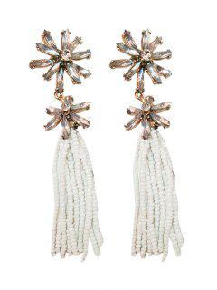 Floral Beaded Inlay Rhinestone Tassel Drop Earrings - White