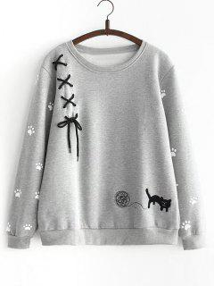 Criss Cross Ribbon Footprint Sweatshirt - Gray