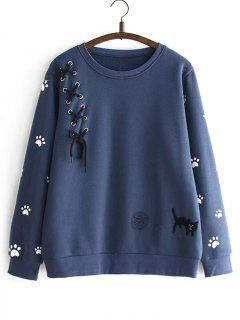 Criss Cross Ribbon Footprint Sweatshirt - Cadetblue