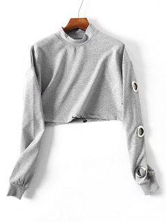 Gesammeltes Metallisches Ring-Sweatshirt - Grau M