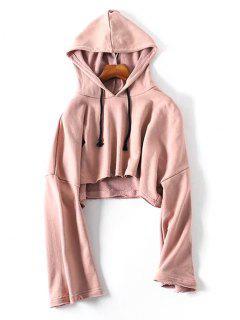 Raw Hem Drawstring Cropped Hoodie - Pink