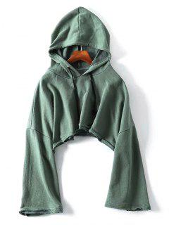 Raw Hem Drawstring Cropped Hoodie - Green