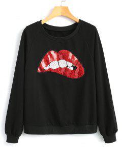 Contrasting Lips Sequined Sweatshirt - Black L