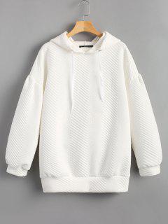 Sudadera Con Capucha De Gran Tamaño Con Textura De Manga Linterna - Blanco M