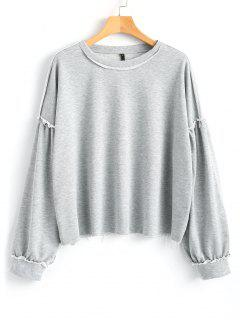 Frayed Hem Ruffled Oversized Sweatshirt - Gray L