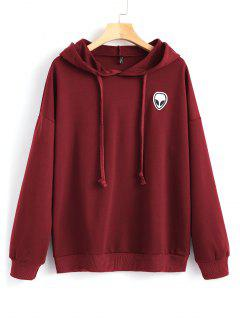 Drawstring Skull Patches Hoodie - Wine Red S