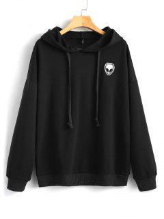 Drawstring Skull Patches Hoodie - Black L