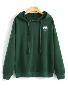 Drawstring Skull Patches Hoodie - Deep Green L