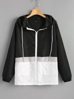 Hooded Two Tone Water Repellent Jacket - Black L