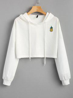 Cropped Pineapple Patches Hoodie - White S