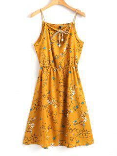 Robe Courte Florale à Fausse Perle - Moutarde  M