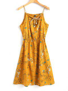Faux Pearls Floral Mini Dress - Mustard Xl