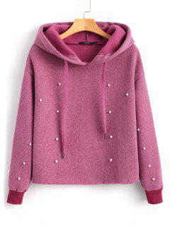 Contrast Drawstring Faux Pearls Hoodie - Pinkish Purple S
