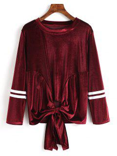 Striped Bowknot Hem Camiseta De Terciopelo - Vino Rojo L