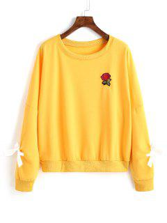 Floral Appliques Embellished Sweatshirt - Yellow M