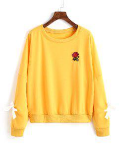 Sudadera Con Adornos Florales - Amarillo M