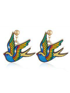 Cute Fly Pigeon Earrings - Blue And Yellow