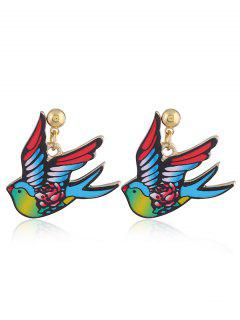Cute Fly Pigeon Earrings - Blue And Red