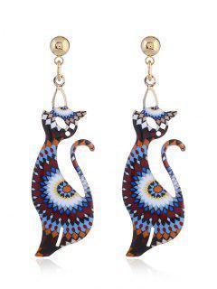 Funny Geometric Cat Earrings - Blue