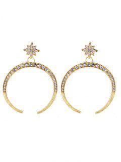 Rhinestone Sparkly Moon Star Earrings - Golden