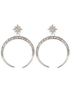 Rhinestone Sparkly Moon Star Earrings - Silver
