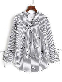 Blusa De Cuello Alto Con Cuello Alto Y Escote En V - Raya Xl